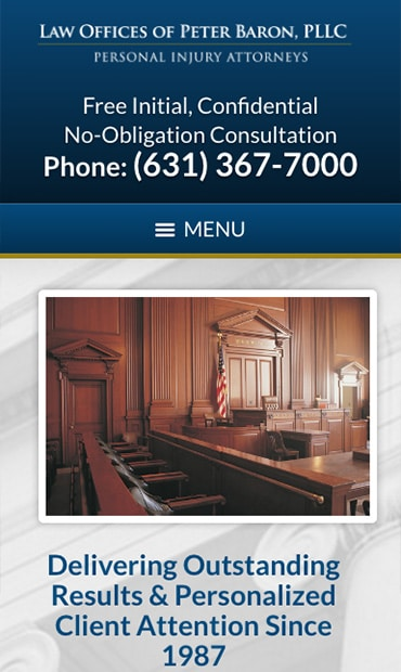 Responsive Mobile Attorney Website for Law Offices of Peter Baron, PLLC