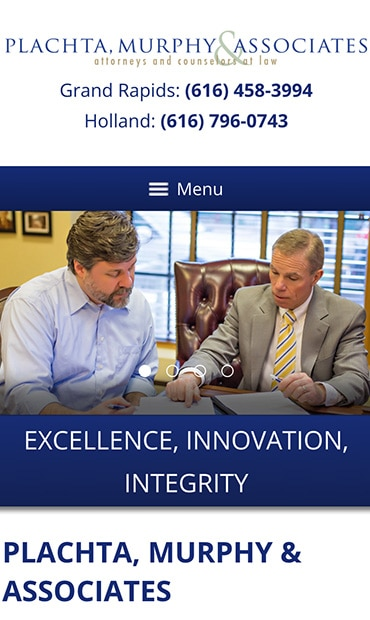 Responsive Mobile Attorney Website for Plachta, Murphy & Associates, P.C.