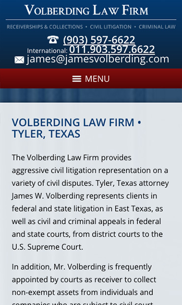 Responsive Mobile Attorney Website for Volberding Law Firm