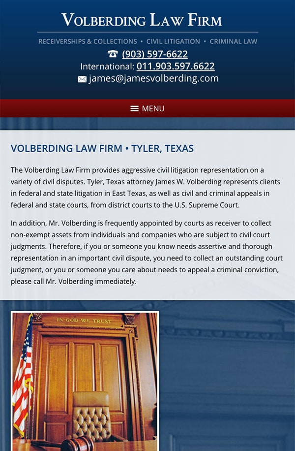 Mobile Friendly Law Firm Webiste for Volberding Law Firm