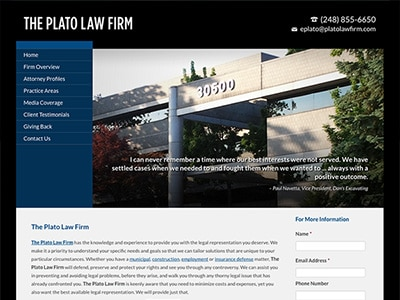 Law Firm Website design for The Plato Law Firm