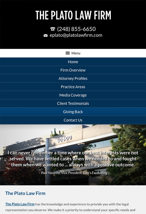 Mobile Friendly Law Firm Webiste for The Plato Law Firm