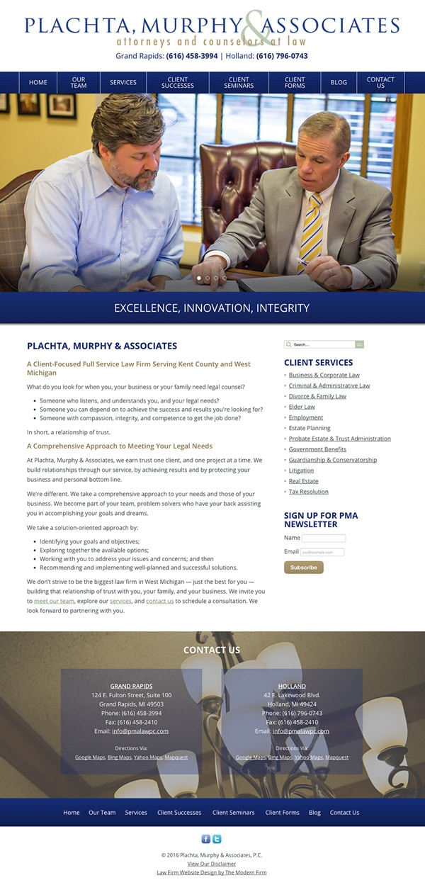Law Firm Website Design for Plachta, Murphy & Associates, P.C.