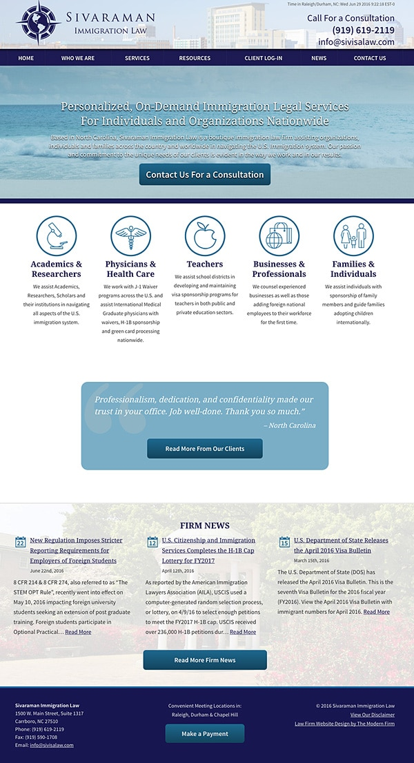 Law Firm Website Design for Sivaraman Immigration Law