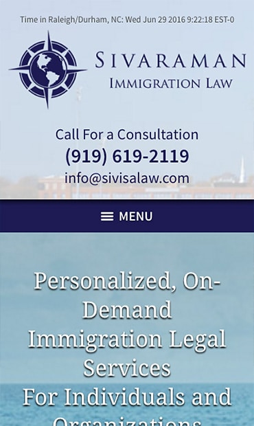 Responsive Mobile Attorney Website for Sivaraman Immigration Law