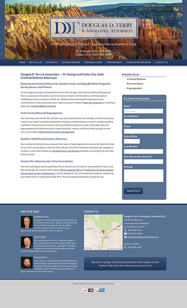 Law Firm Website for Douglas D. Terry & Associates, Attorneys PLLC