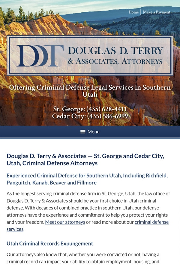 Mobile Friendly Law Firm Webiste for Douglas D. Terry & Associates, Attorneys PLLC