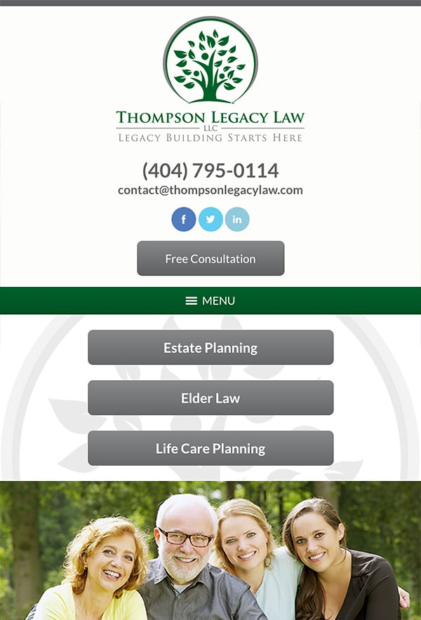 Mobile Friendly Law Firm Webiste for Thompson Legacy Law, LLC
