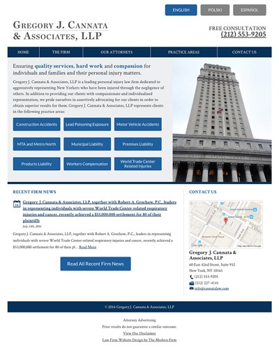 Law Firm Website for Gregory J. Cannata & Associates