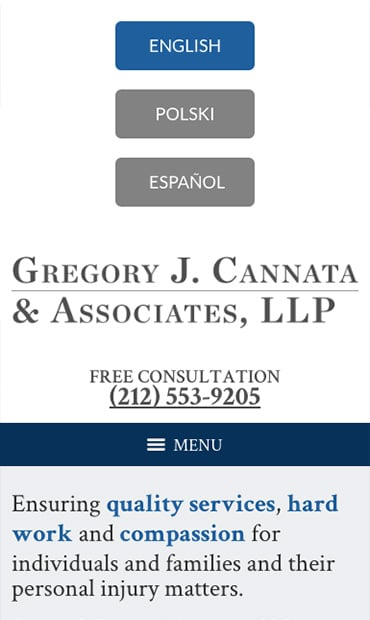Responsive Mobile Attorney Website for Gregory J. Cannata & Associates