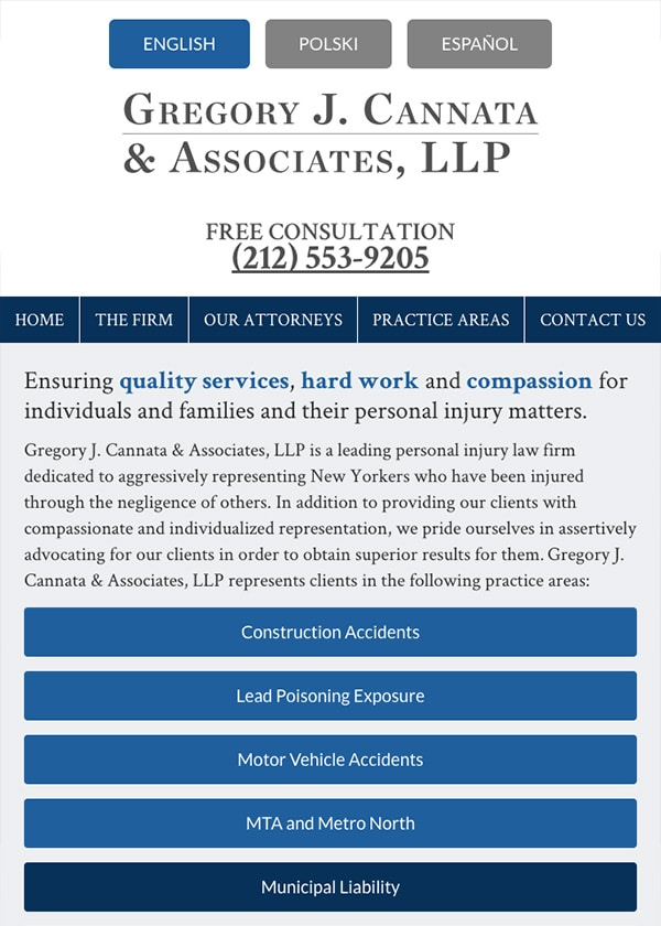 Mobile Friendly Law Firm Webiste for Gregory J. Cannata & Associates