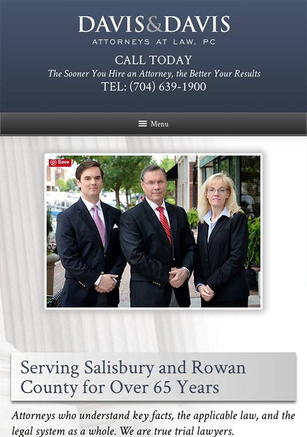 Mobile Friendly Law Firm Webiste for Davis & Davis, Attorneys at Law, PC
