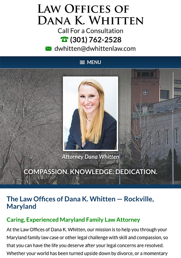 Mobile Friendly Law Firm Webiste for Law Offices of Dana K. Whitten