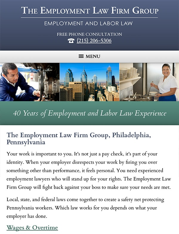Mobile Friendly Law Firm Webiste for The Employment Law Firm Group