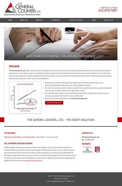 Law Firm Website Design for The General Counsel, Ltd.