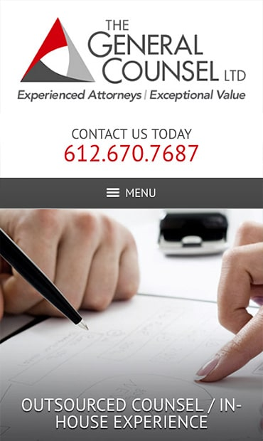 Responsive Mobile Attorney Website for The General Counsel, Ltd.