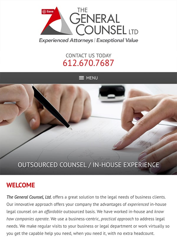Mobile Friendly Law Firm Webiste for The General Counsel, Ltd.
