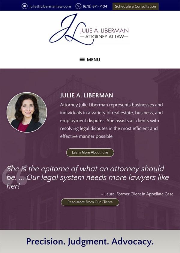 Mobile Friendly Law Firm Webiste for Julie A. Liberman, LLC