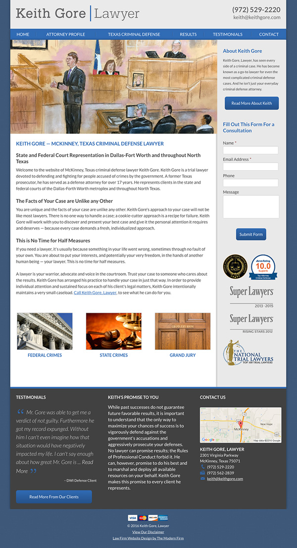 Law Firm Website for Keith Gore, Lawyer