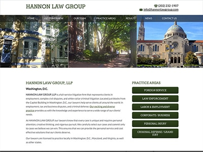 Law Firm Website design for HANNON LAW GROUP, LLP