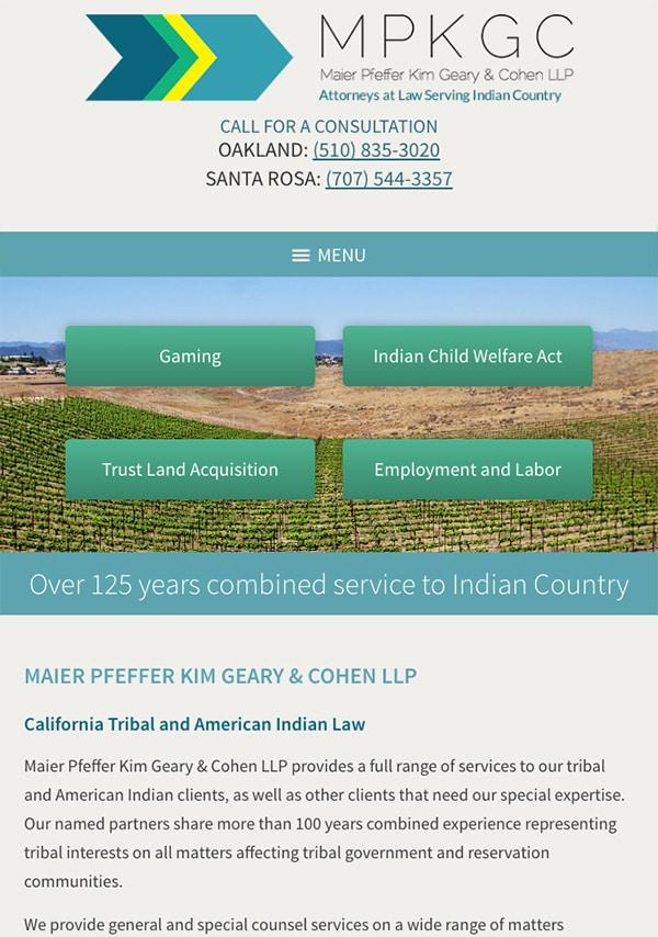 Mobile Friendly Law Firm Webiste for Maier Pfeffer Kim Geary & Cohen LLP