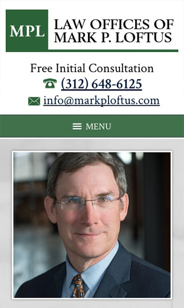 Responsive Mobile Attorney Website for Law Offices of Mark P. Loftus