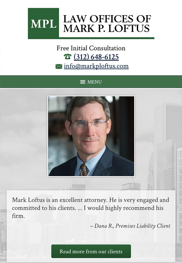 Mobile Friendly Law Firm Webiste for Law Offices of Mark P. Loftus