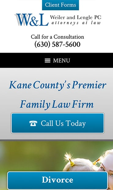 Responsive Mobile Attorney Website for Weiler & Lengle, P.C.
