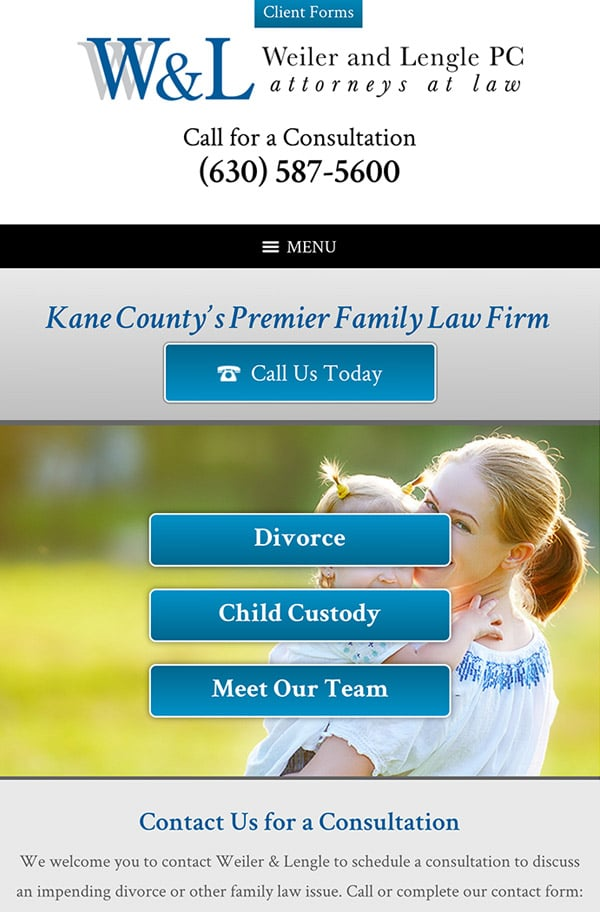 Mobile Friendly Law Firm Webiste for Weiler & Lengle, P.C.