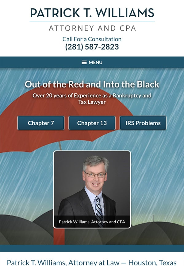 Mobile Friendly Law Firm Webiste for Law Office of Patrick T. Williams