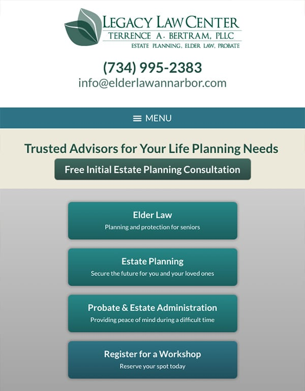 Mobile Friendly Law Firm Webiste for Legacy Law Center