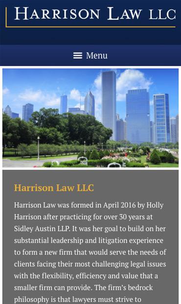 Responsive Mobile Attorney Website for Harrison Law LLC