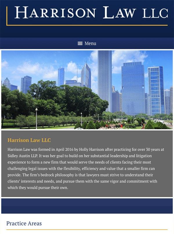 Mobile Friendly Law Firm Webiste for Harrison Law LLC