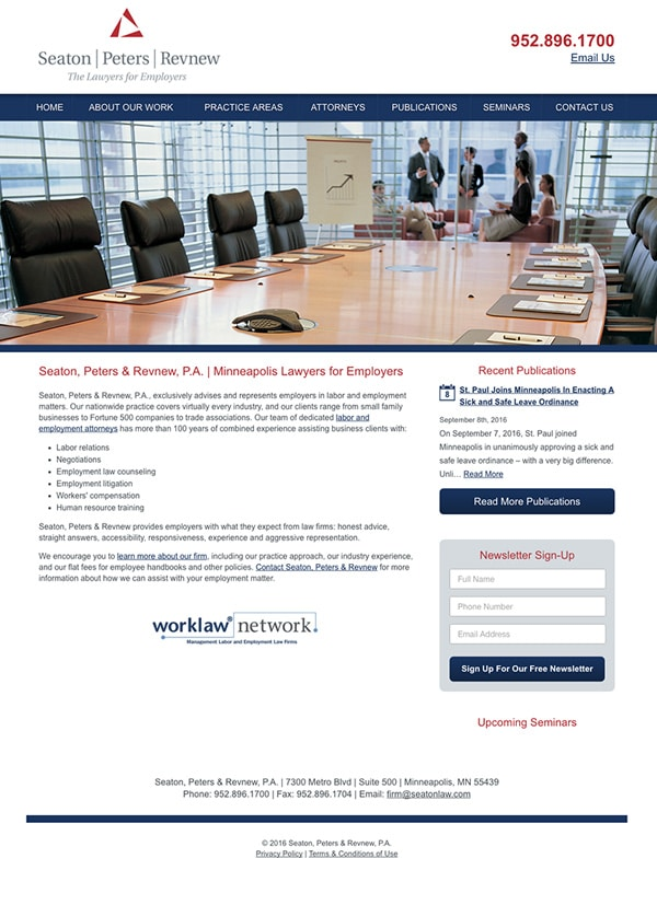 Law Firm Website Design for Seaton, Peters & Revnew, P.A.
