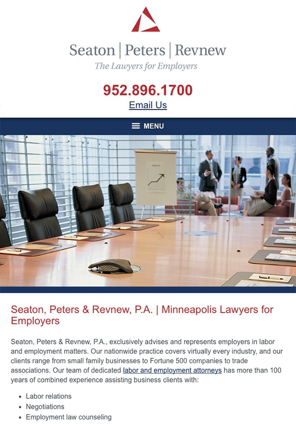 Mobile Friendly Law Firm Webiste for Seaton, Peters & Revnew, P.A.