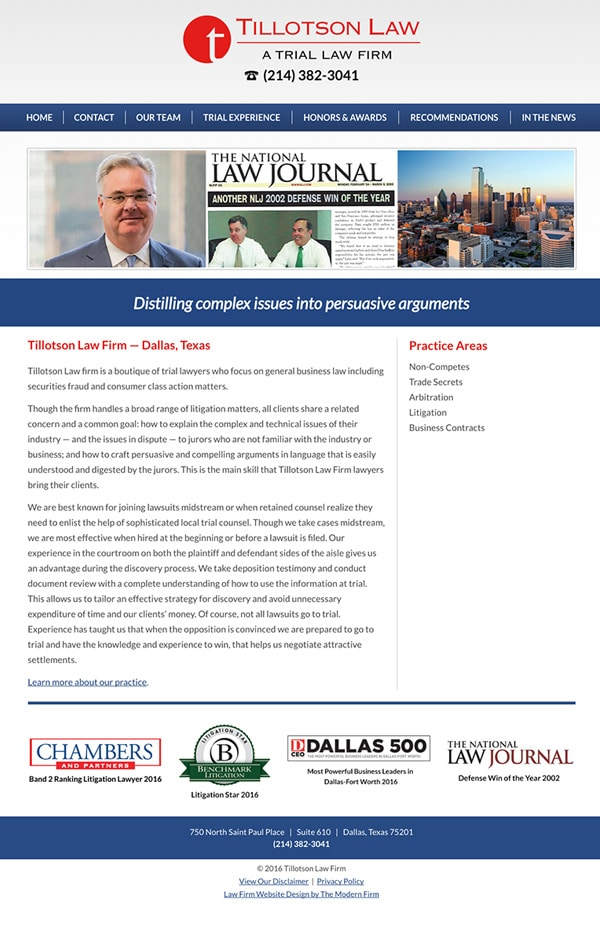 Law Firm Website Design for Tillotson Law Firm