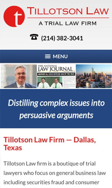 Responsive Mobile Attorney Website for Tillotson Law Firm