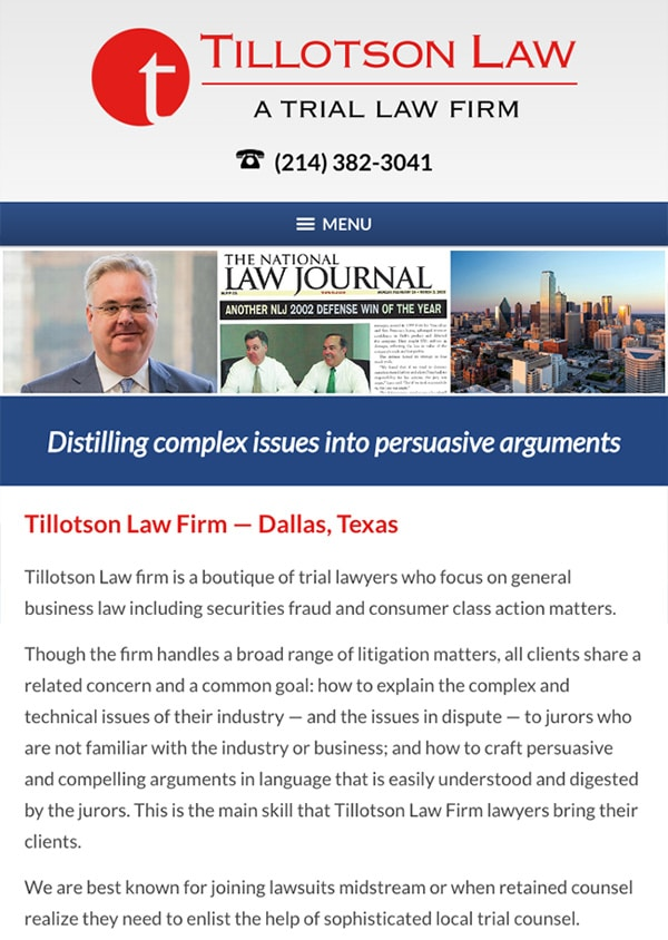 Mobile Friendly Law Firm Webiste for Tillotson Law Firm