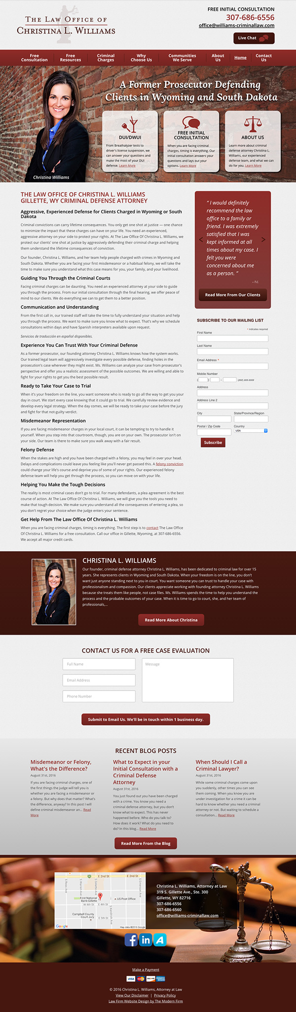 Law Firm Website Design for Christina L. Williams, Attorney at Law