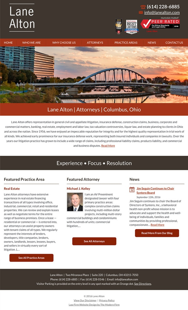 Law Firm Website Design for Lane Alton
