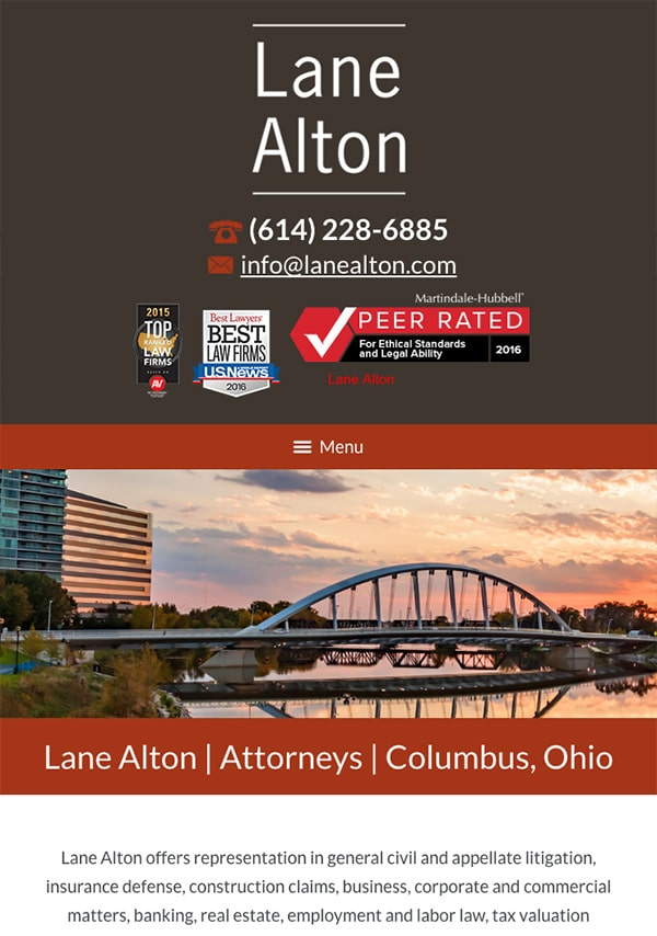 Mobile Friendly Law Firm Webiste for Lane Alton