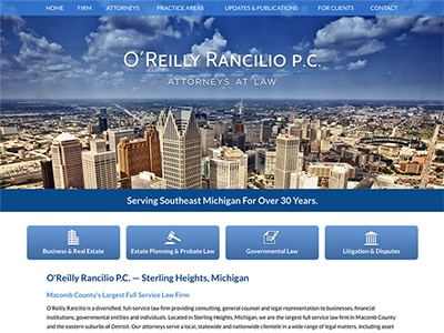 Law Firm Website design for O'Reilly Rancilio P.C.