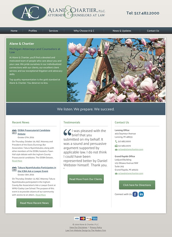 Law Firm Website for Alane & Chartier, PLC