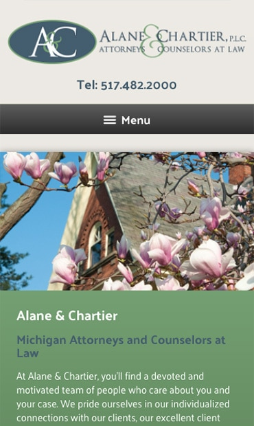 Responsive Mobile Attorney Website for Alane & Chartier, PLC