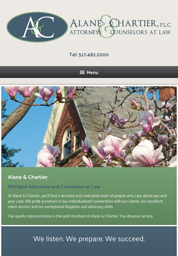 Mobile Friendly Law Firm Webiste for Alane & Chartier, PLC