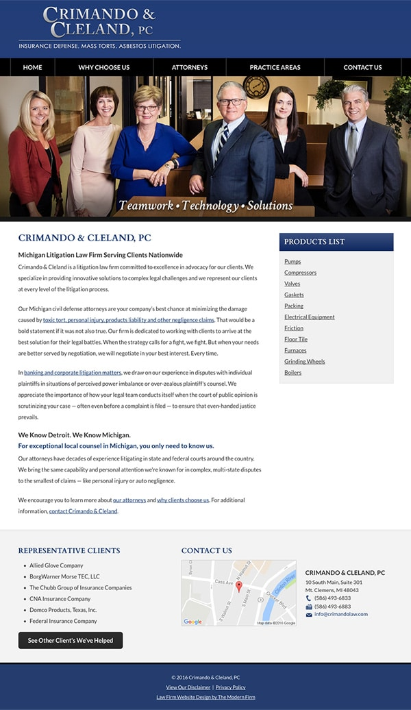 Law Firm Website for Crimando & Cleland, PC