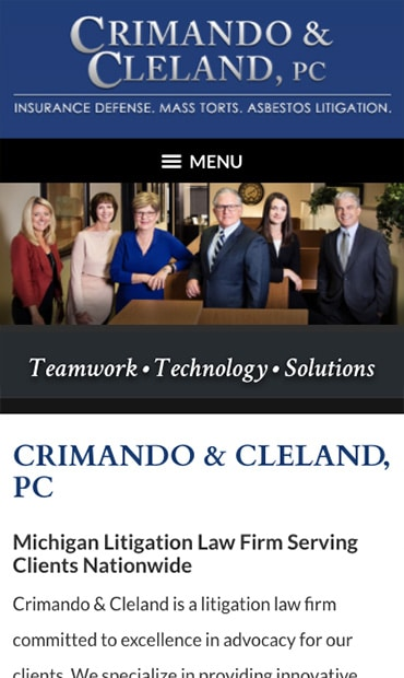 Responsive Mobile Attorney Website for Crimando & Cleland, PC