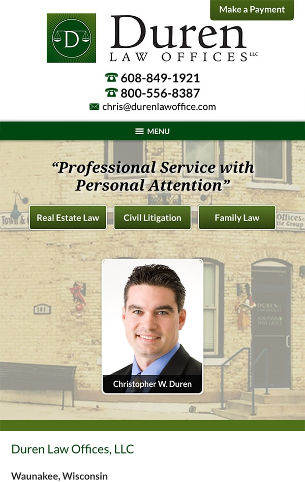 Mobile Friendly Law Firm Webiste for Duren Law Offices, LLC