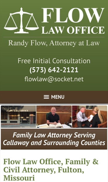 Responsive Mobile Attorney Website for Flow Law Office