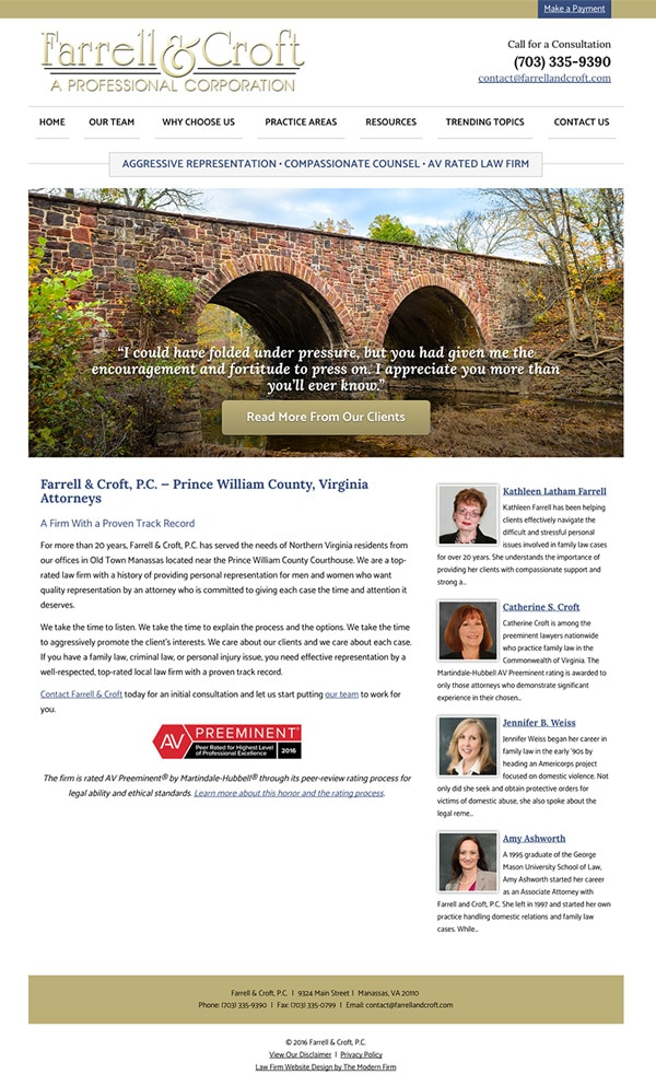 Law Firm Website Design for Farrell & Croft, P.C.